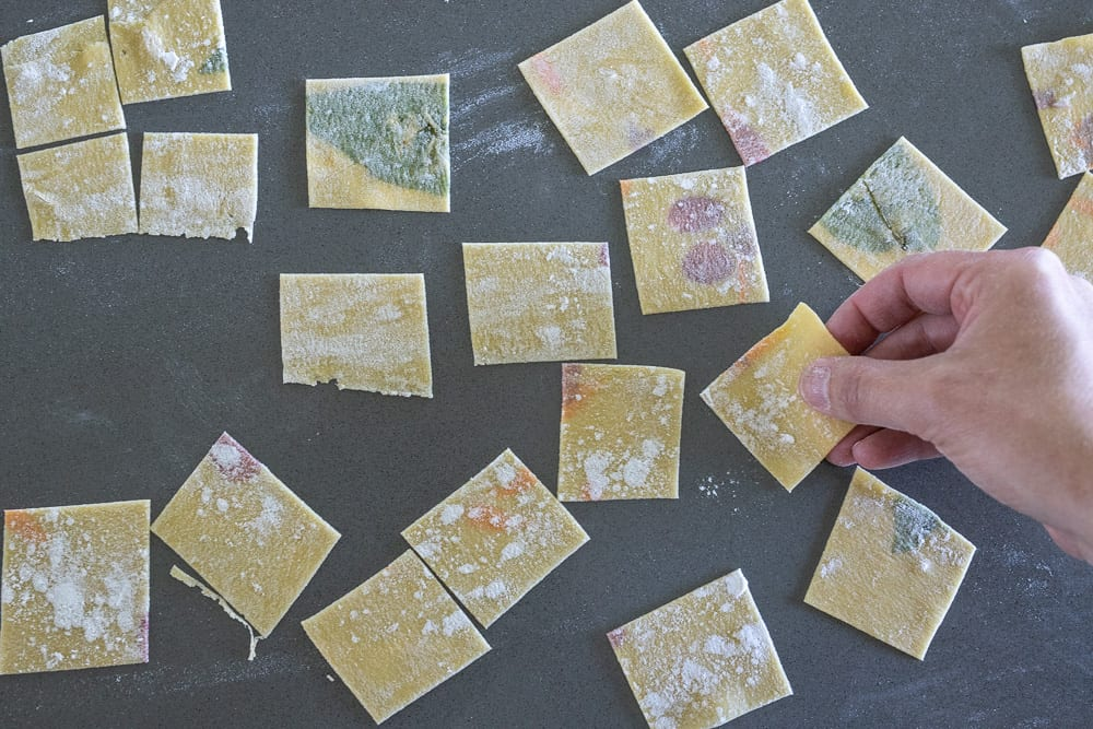laminated pasta squares for garganelli with edible flowers and fresh herbs