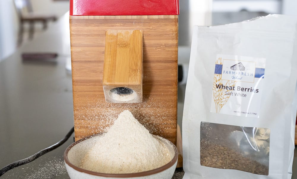 nutrimill grain mill with soft white winter wheat