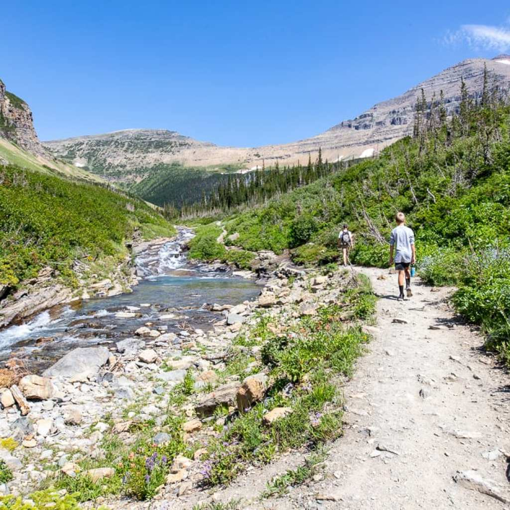teenage boys walking along Siyeh Creek Montana