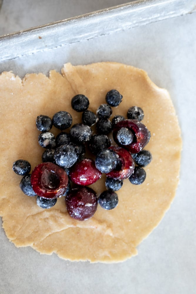 blueberry and cherry mixture on galette