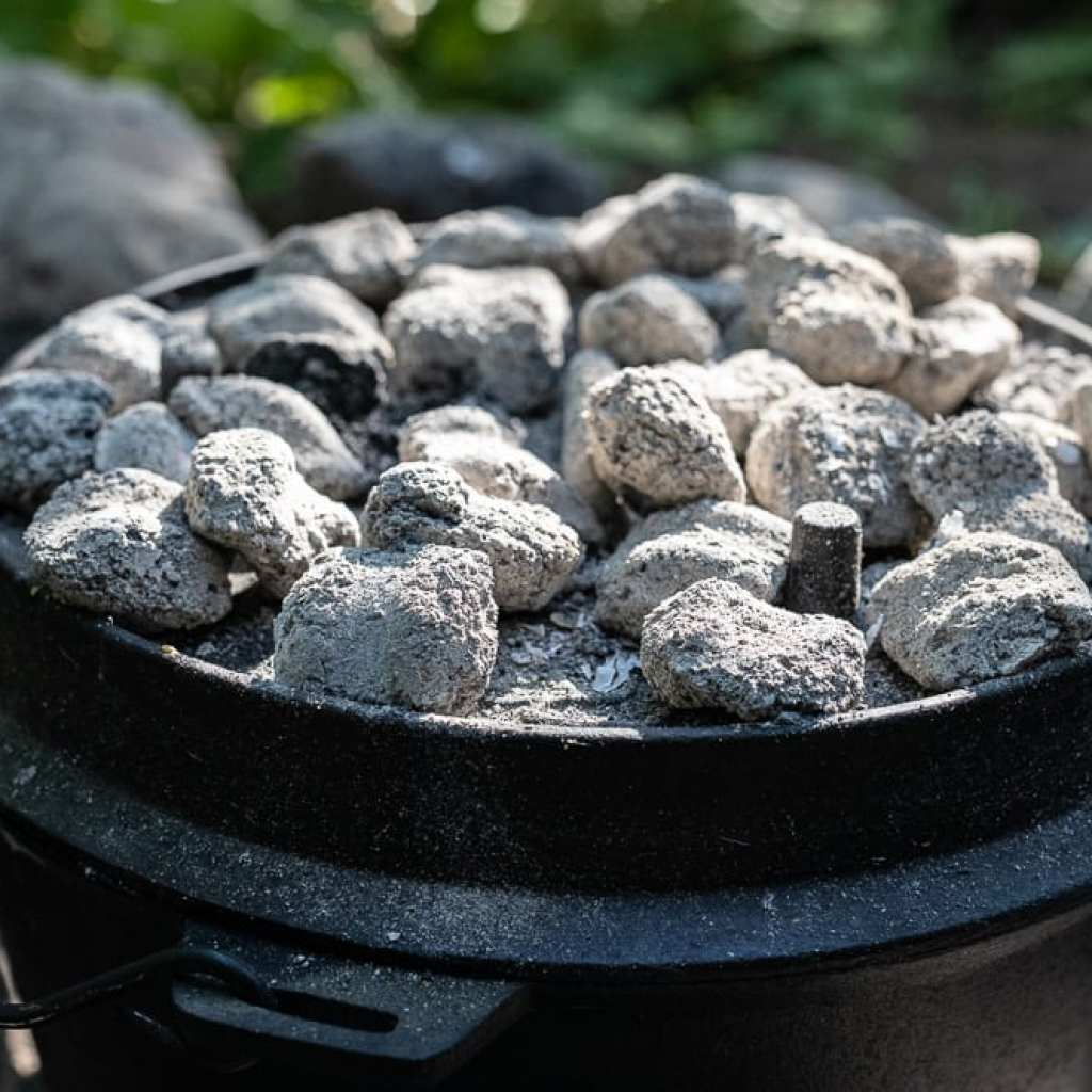 charcoal on top of dutch oven