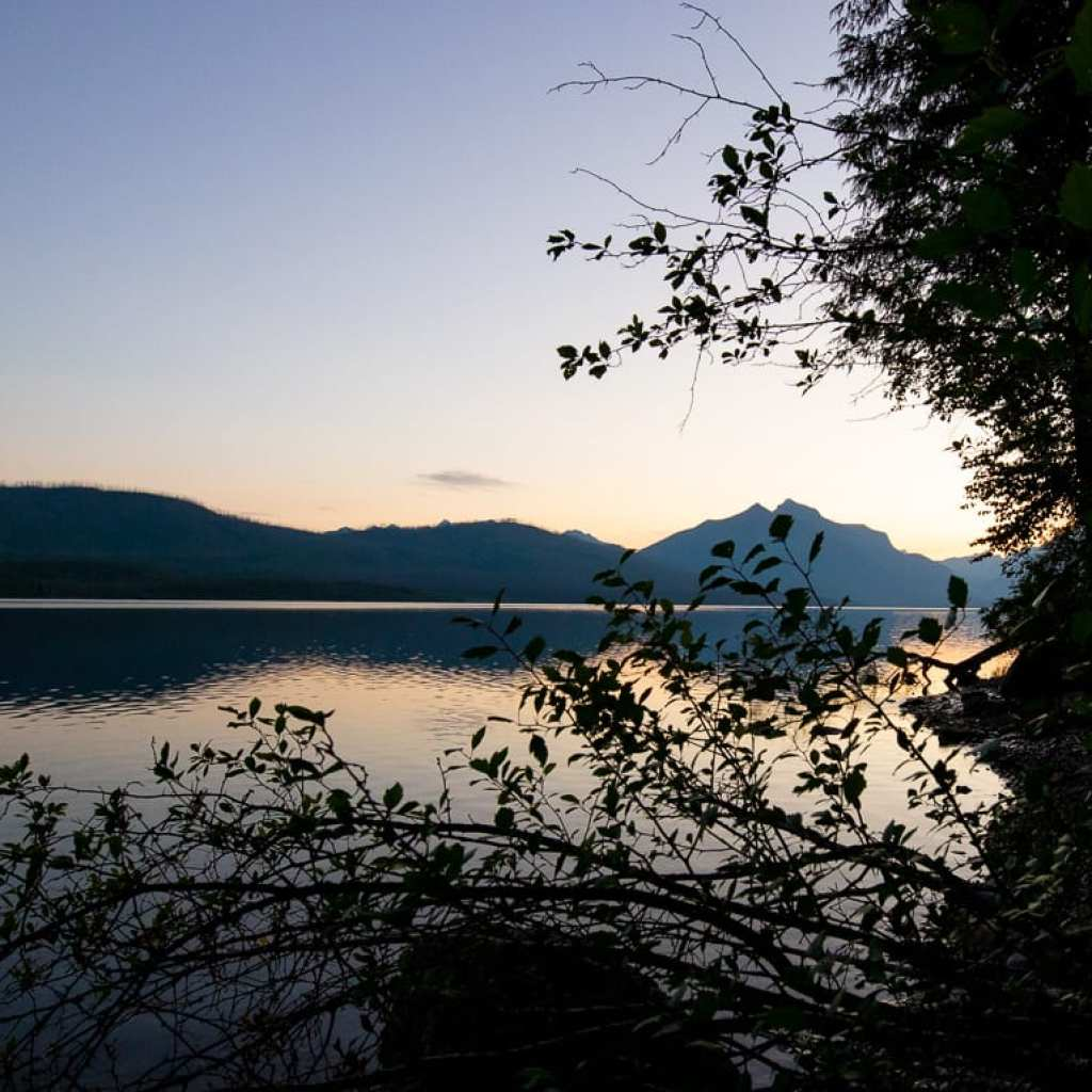 sunset over lake mcdonald montana