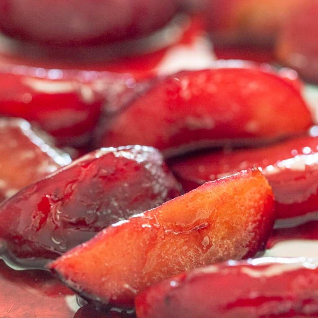 Simple Maple roasted plums on baking sheet