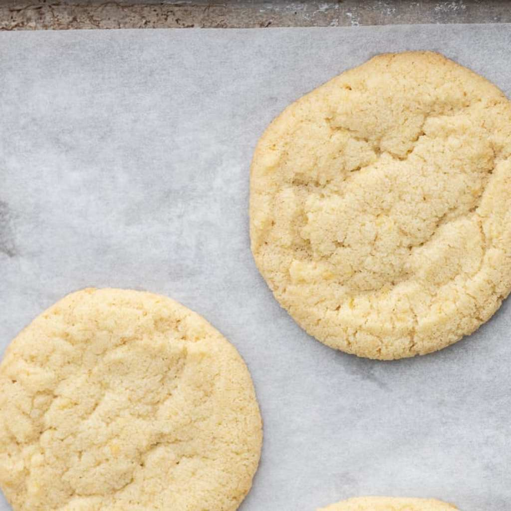 baked cookies on parchment lined baking sheet