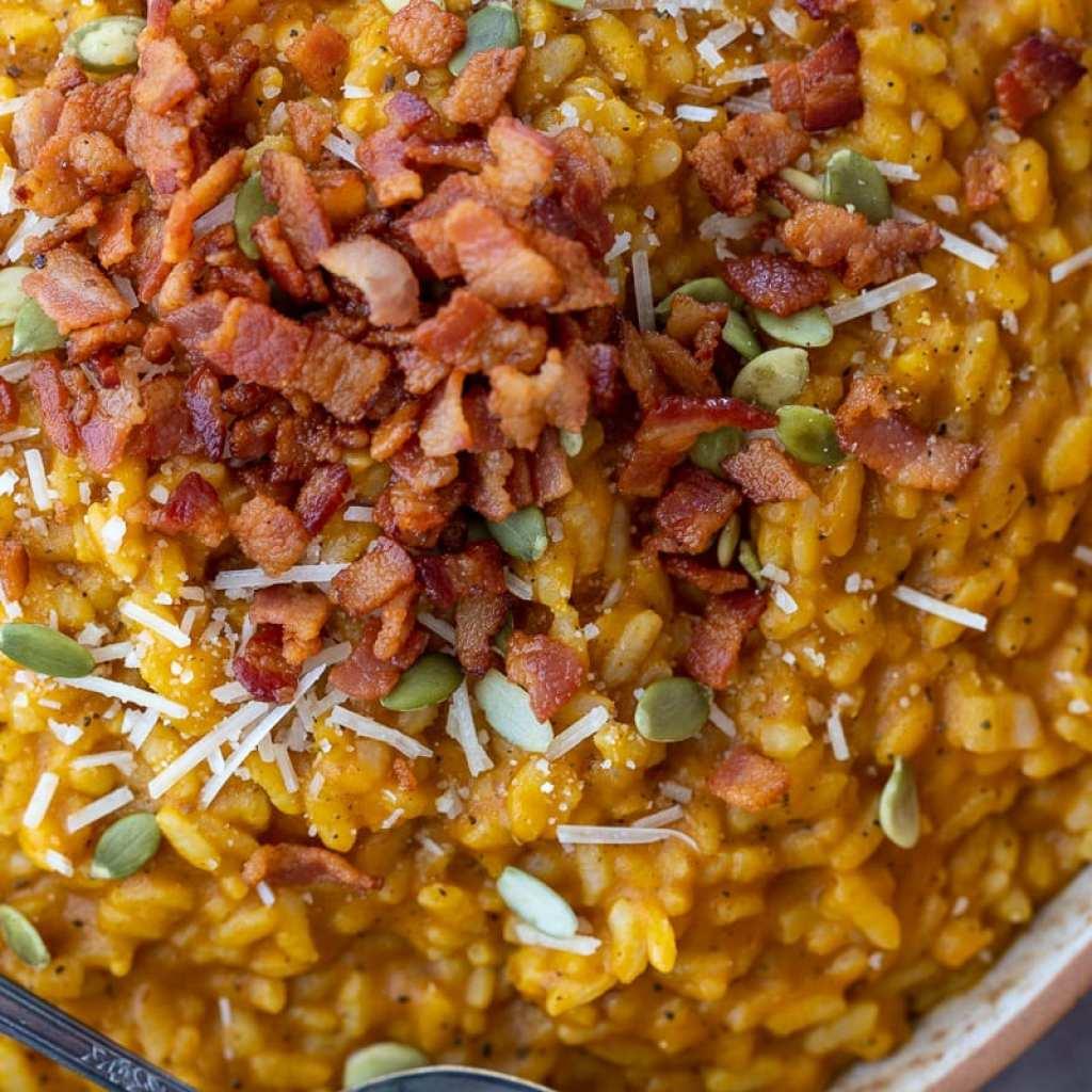 Pumpkin risotto with crispy bacon