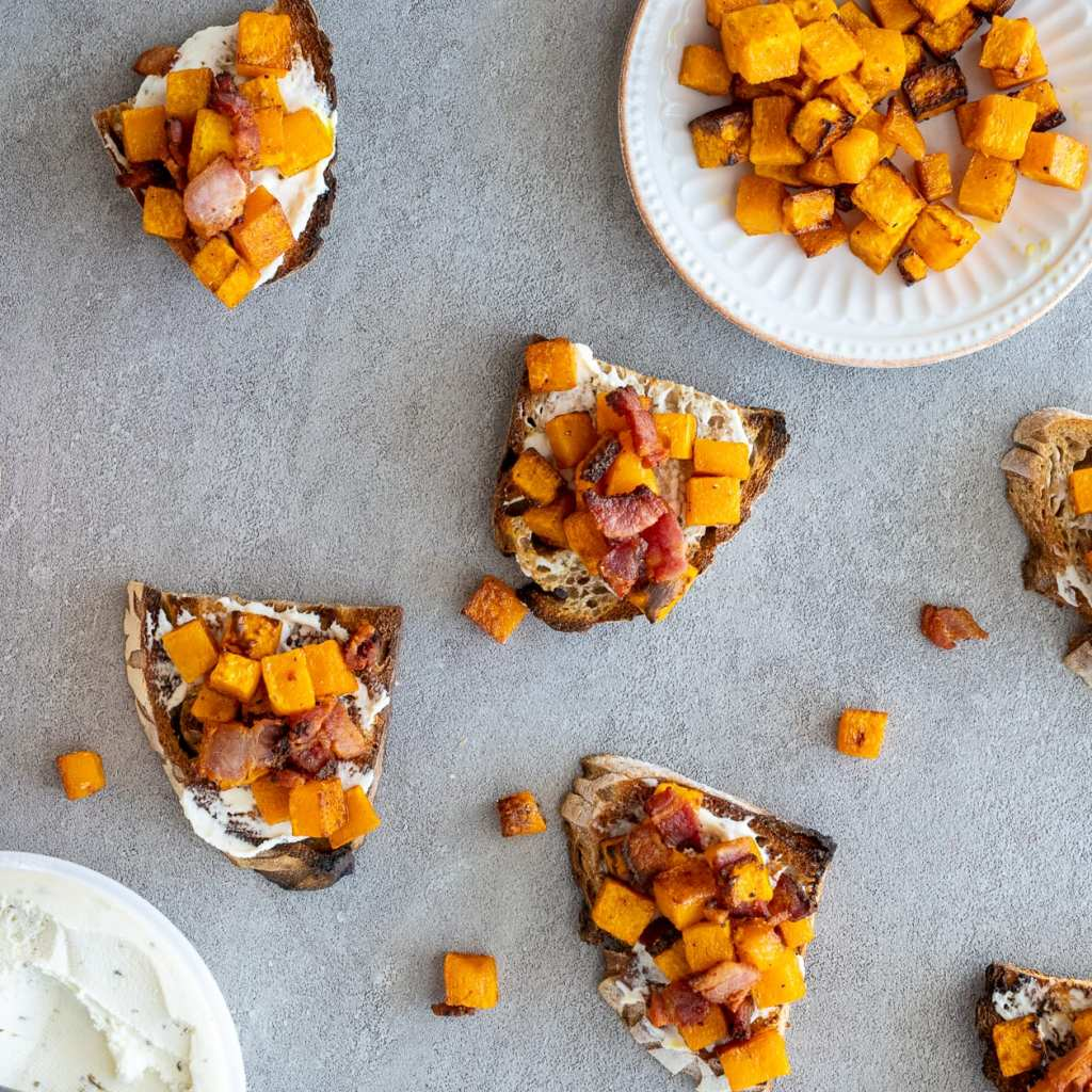 Roasted Butternut and bacon toasties on surface