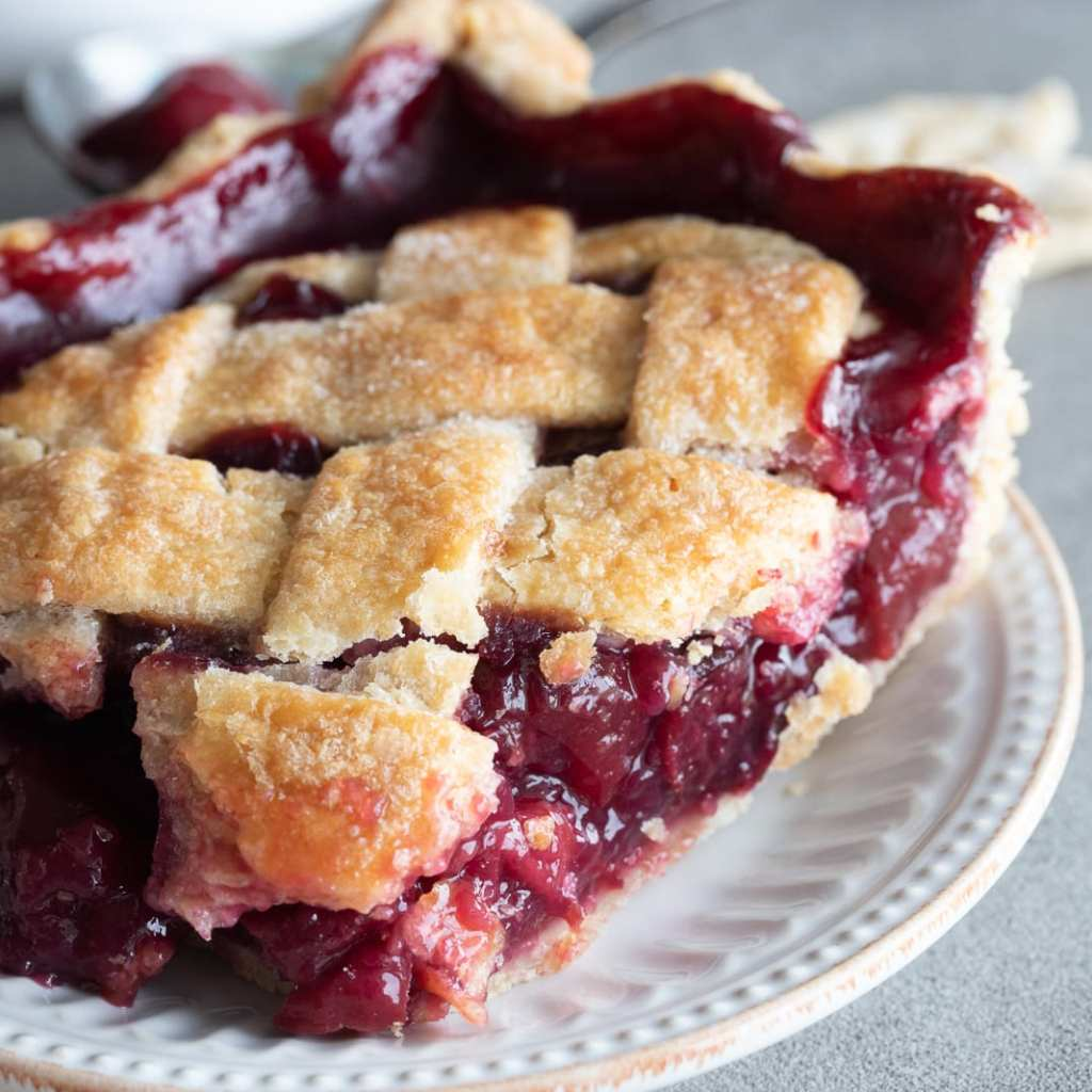 cherry slab pie on small white plate