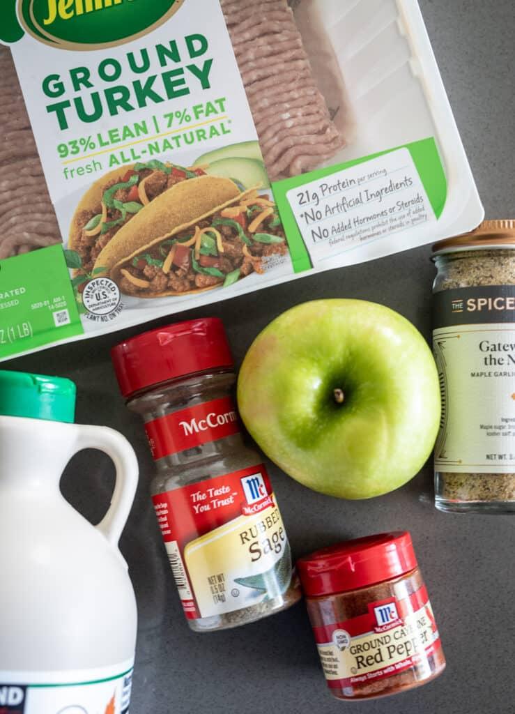 Ingredients for homemade turkey breakfast sausage.