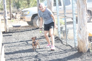 """Adette getting daily playtime in with one of her """"rebel dogs"""" as each dog has a designated schedule"""