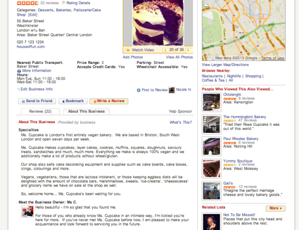Yelp Professional Profile