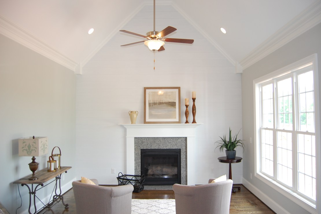 Vaulted Ceiling Shiplap Fireplace Wall