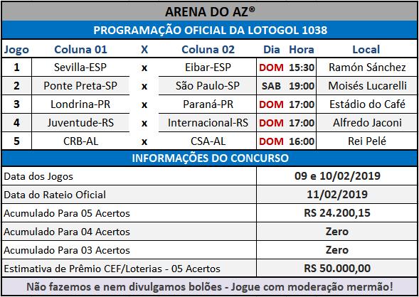 Loteca 839 / Lotogol 1038 - Programações com informações financeiras e a relação dos jogos dos concursos.