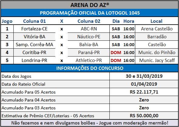 Loteca 846 / Lotogol 1045 - Programações com informações financeiras e as relações dos jogos dos concursos.