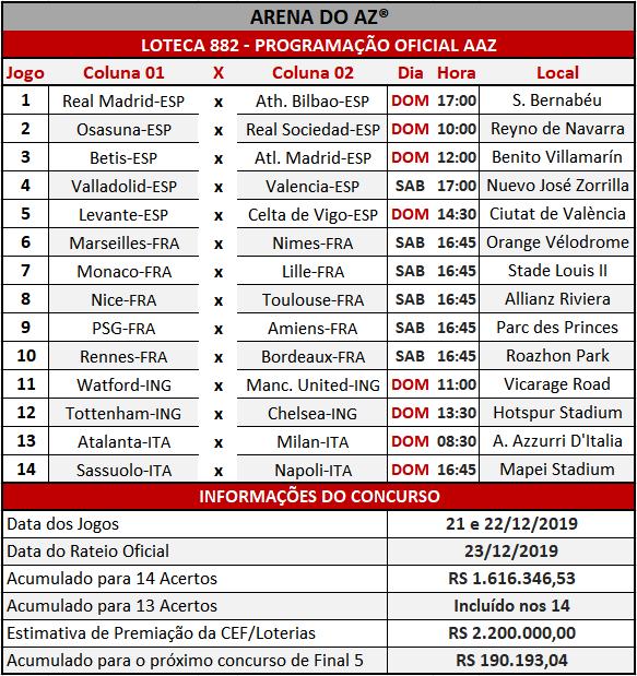 Loteca 882 - Programação Atualizada com informações financeiras e relação dos jogos do concurso.