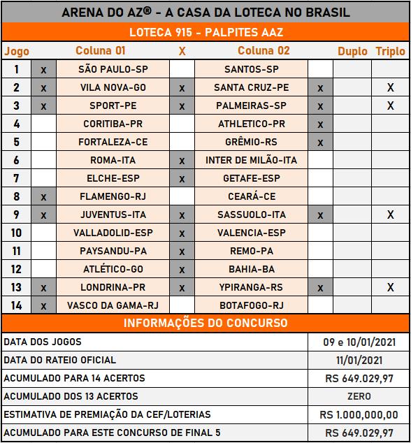 Loteca 915 - Palpites & Históricos - Palpites imparciais e relevantes, ideal para quem gosta de apostas mais arrojadas, acompanhados com os históricos mais recente de cada um dos 14 jogos da grade.