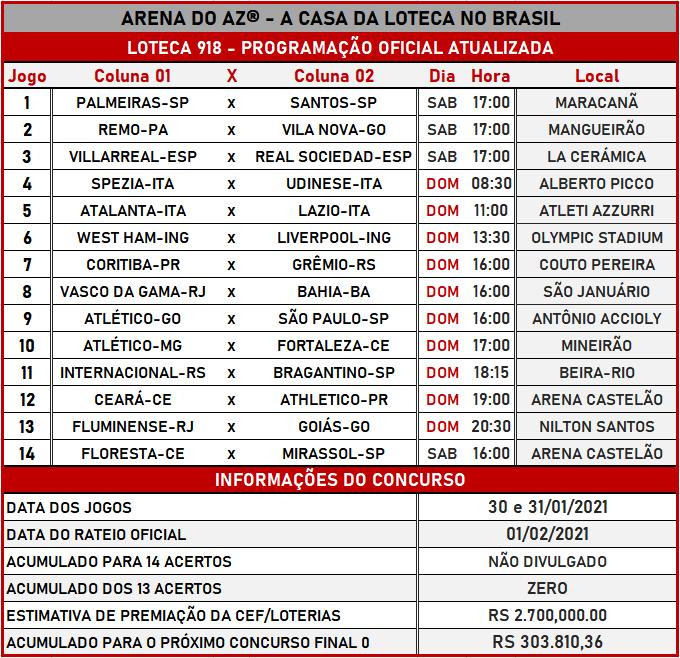 Loteca 918 - Programação Atualizada com informações financeiras, dias, horários e locais dos jogos. Mais uma exclusividade do AAZ, o Maior e Melhor Portal de Loteca do Brasil.
