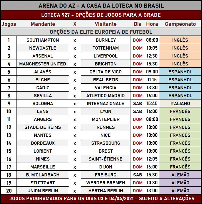 Loteca 927 - Programação Atualizada com informações financeiras, dias, horários e locais dos jogos. Mais uma exclusividade do AAZ, o Maior e Melhor Portal de Loteca do Brasil.