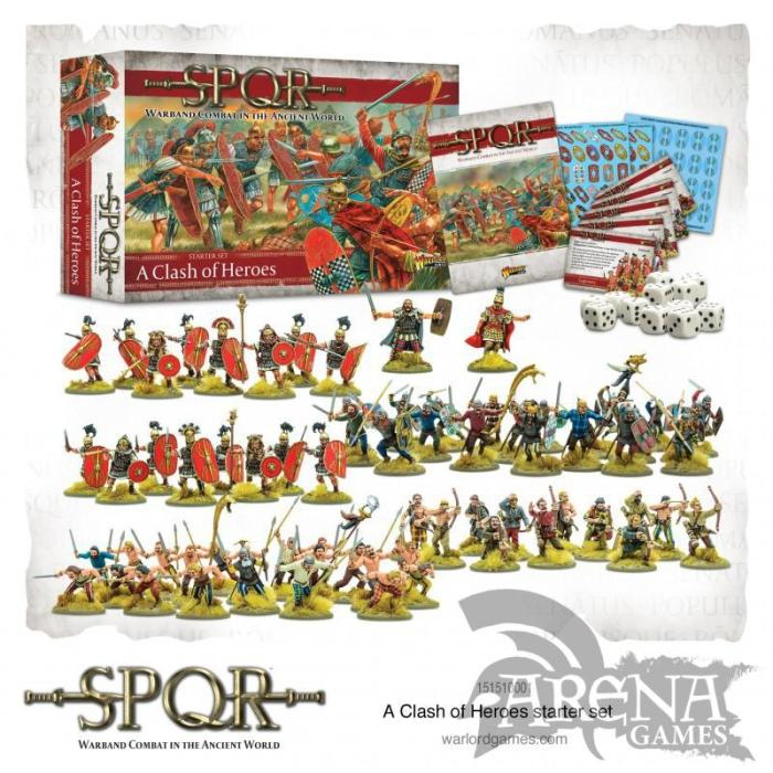 Hire mercenaries or lead your force with Heroes of legend – let nothing stand in your way as you conquer all for the glory of your nation and the gods themselves! SPQR Clash Of Heroes Contains: Softback 196 page A4 rulebook A Roman Hero 8 Caesarian Romans with gladius 8 Caesarian Romans with Pilum Caesarian Romans shields decal sheet A Gaul Chieftain 40 Gallic Celts & Celts command 12 Celtic Archers Celtic Warriors shields decal sheet Bases D6