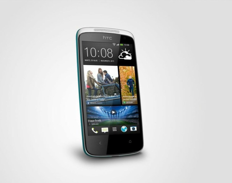 HTC Desire 500 albastru perspectiva stanga