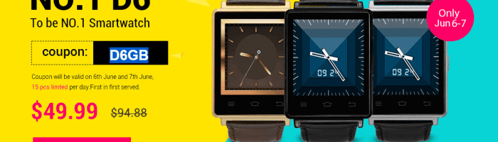 No.1 D6: smartwatch cu 1 GB RAM, 3G si Android 5.1