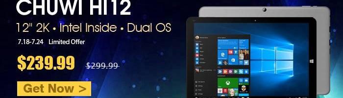Chuwi Hi12 - tableta cu doua sisteme de operare si hardware bun la 240 de dolari