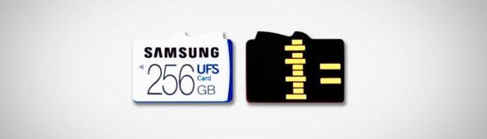 Samsung a creat un slot in care se pot introduce carduri UFS si microSD