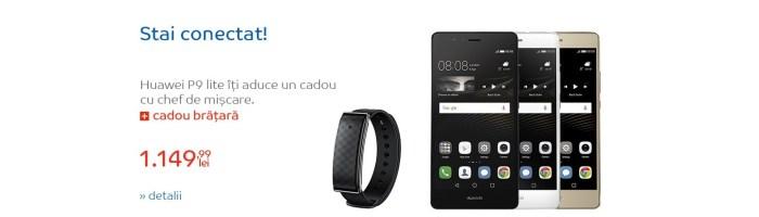 Oferta zilei: Huawei P9 Lite + bratara fitness  Huawei A1 la 1150 lei