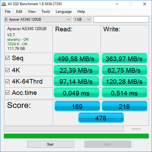 Review SSD Apacer AS340 120GB