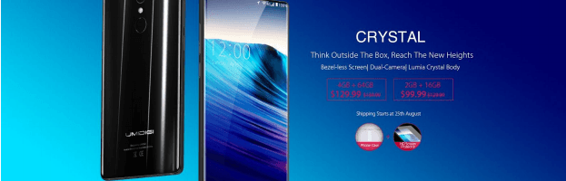 Smartphone-ul bezel-less UMIDIGI Crystal disponibil la precomandă; preț de pornire de 99 USD