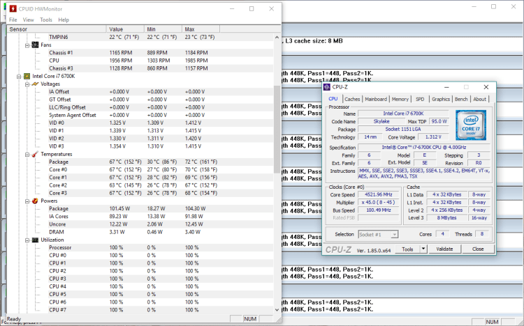 Intel Core i7-6700K @ 4.5 Ghz, 1.27V, full load – 67 °C (Auto)