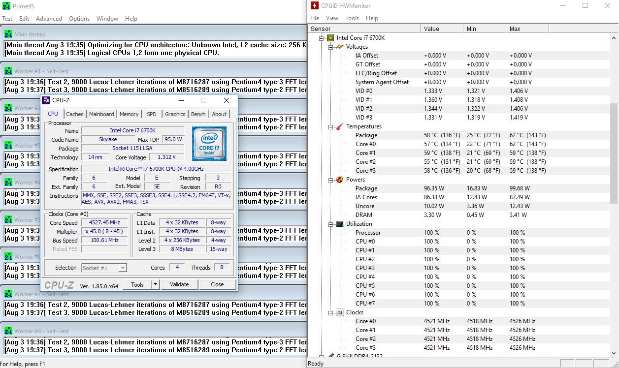 Intel Core i7-6700K @ 4.5 Ghz, 1.27V, full load – 58 °C