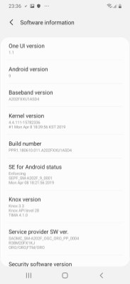 Samsung A20e_Settings_Software