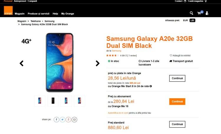 Review Samsung Galaxy A20e - un compact surprinzator
