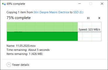 Viteza scriere SSD extern