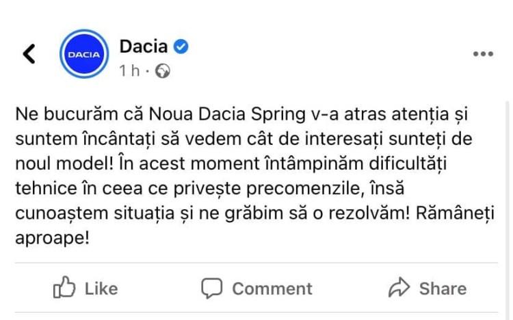 Dacia Spring - 4000 de precomenzi in 24 de ore
