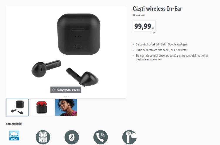 Lidl are in ofera casti True Wireless la 99 lei