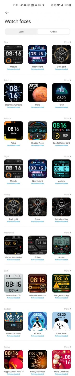 Xiaomi Mi Watch Lite faces