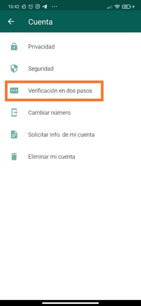 Activar verificación en dos pasos