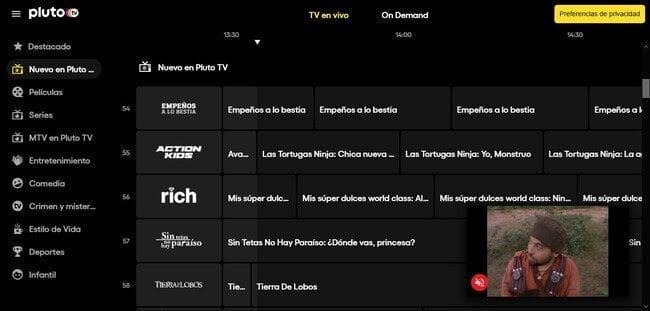 Pluto TV plataforma de TV en streaming