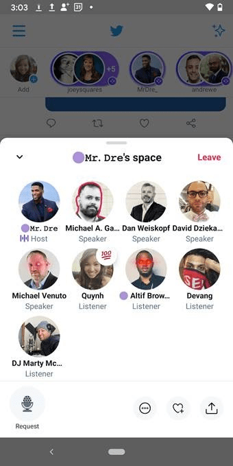 Spaces twitter