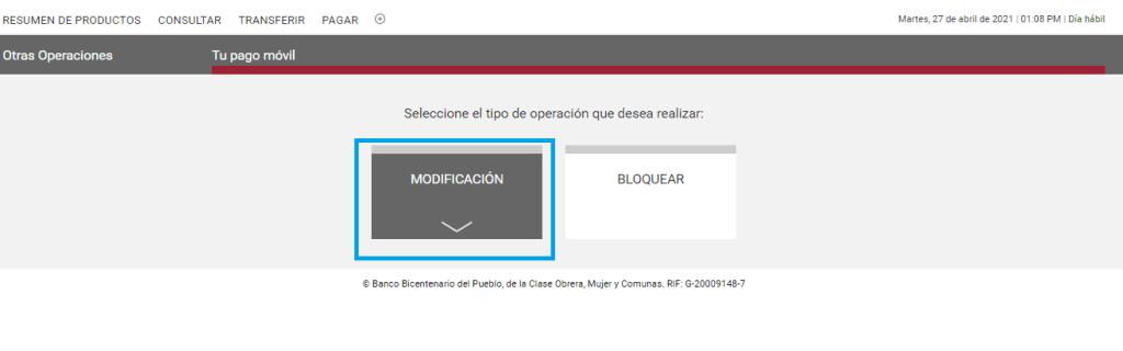 Banco Bicentenario actualizar número de pago móvil en banco bicentenario