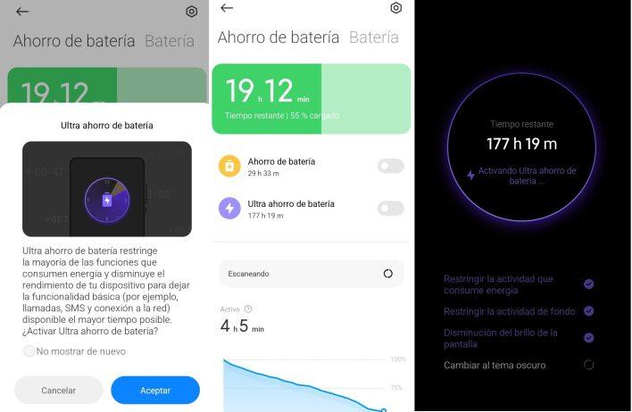 Modo ultra ahorro energía MIUI 12 Xiaomi