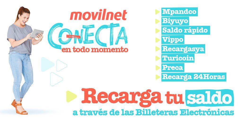 Billeteras electrónicas para recargar saldo Movilnet