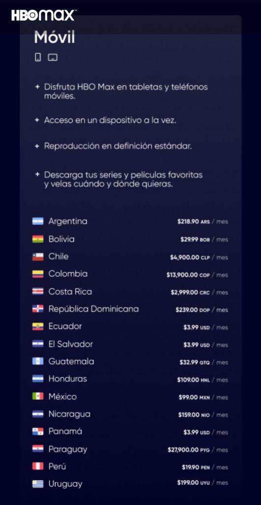 HBO Max Latinoamérica plan móvil Precio y países