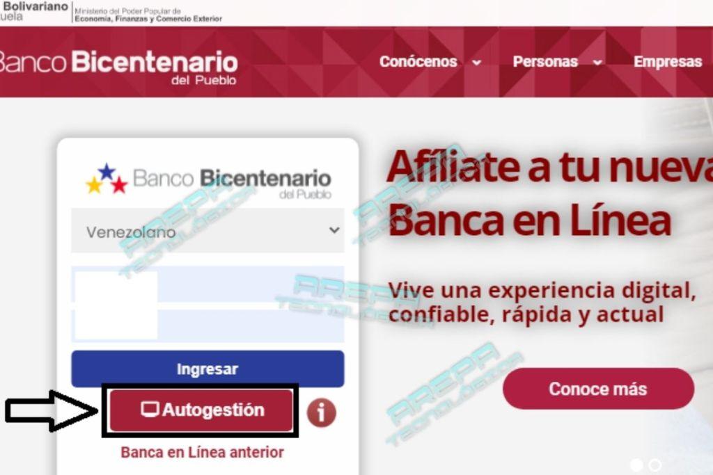 portal web del Banco Bicentenario