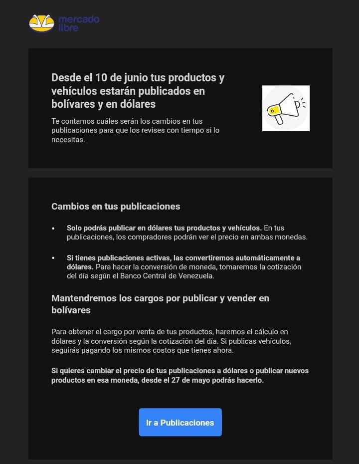 Mercado Libre publicista precio de productos en dólares y en bolívares
