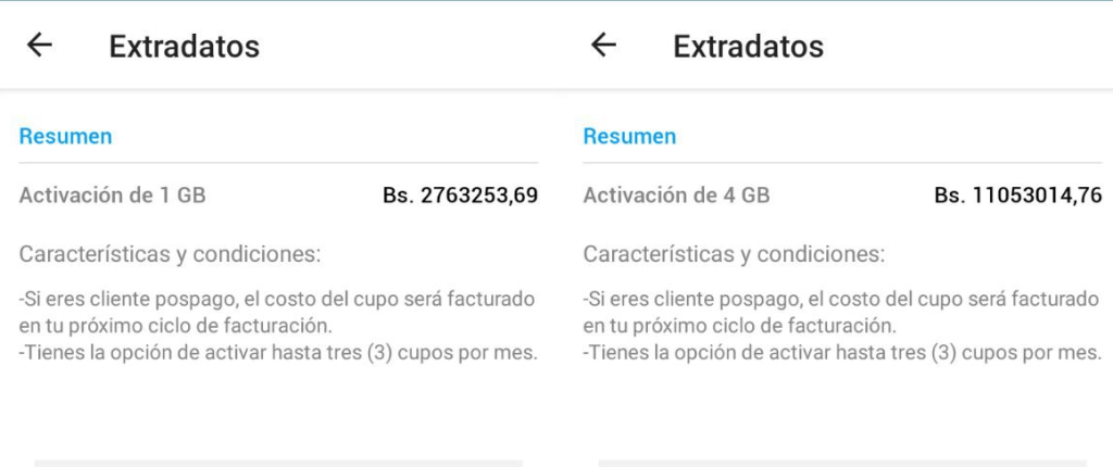 Tarifas Extradatos app mi Movistar