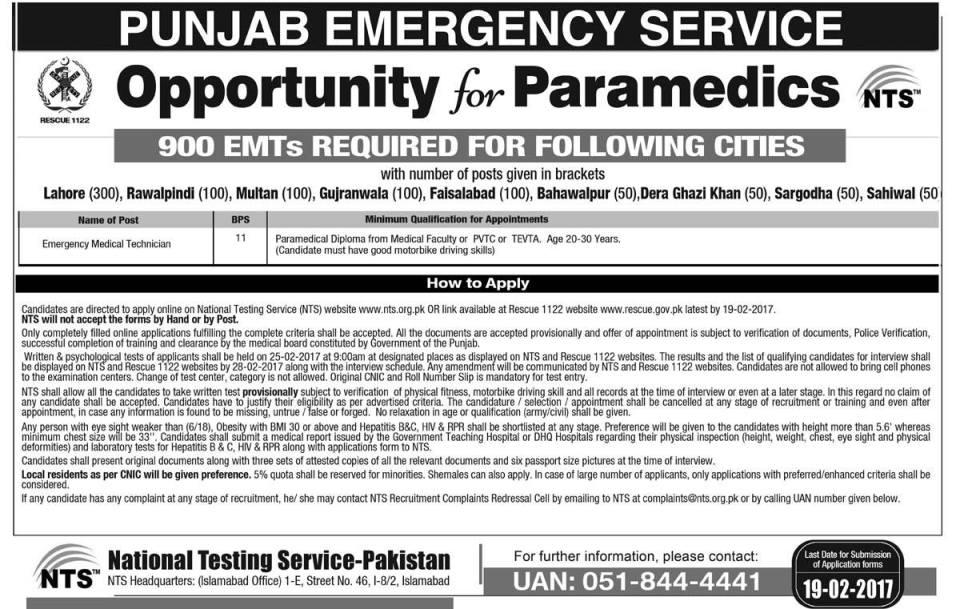 900 (Emergency Medical Technician) EMT Rescue 1122 Jobs Feb 2017