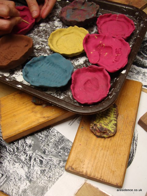 Our plasticine fossil casts awaiting plaster of Paris