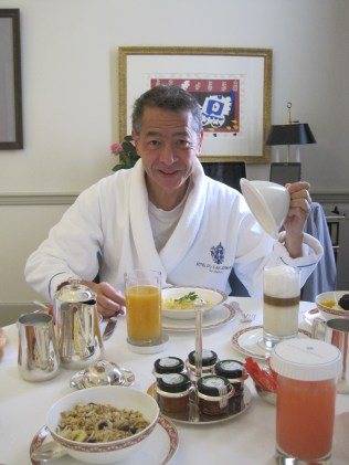 Extremely welcome interlude 6: Joel having breakfast at the Eden Roc hotel. I was writing up a piece for Dior so got a free night there, and,well, the bed was big enough for both of us!